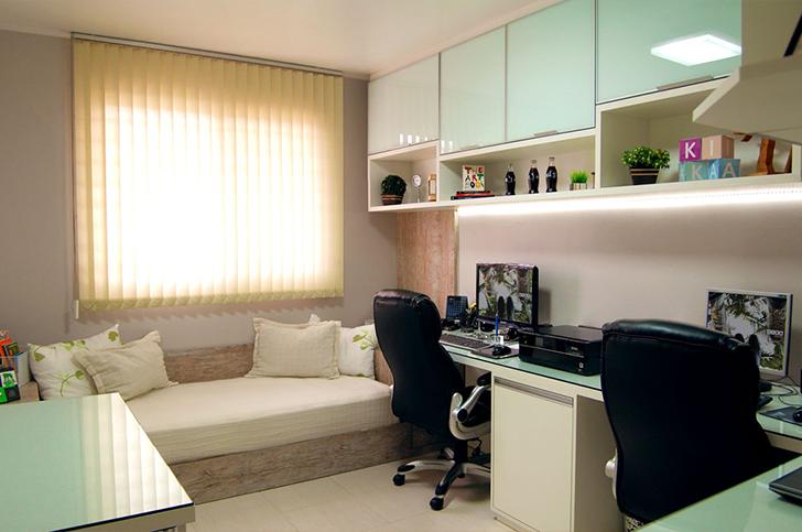 Decoração para quarto com home office integrado 2