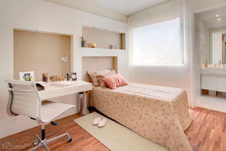 Decoração para quarto com home office integrado 4