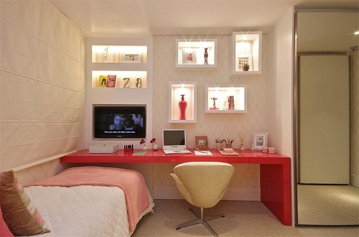 Decoração para quarto com home office integrado 6