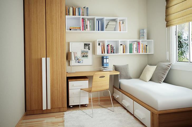 Decoração para quarto com home office integrado 7