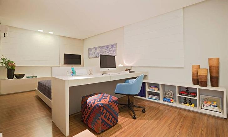 Decoração para quarto com home office integrado 8