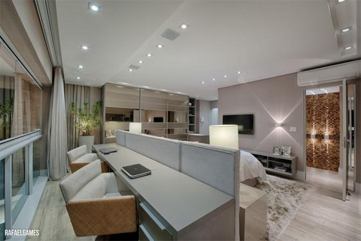 Decoração para quarto com home office integrado 9