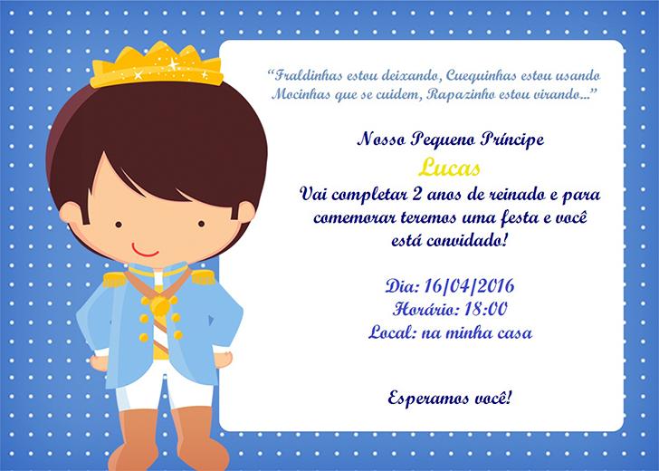 Convite festa infantil menino tema O Pequeno Príncipe