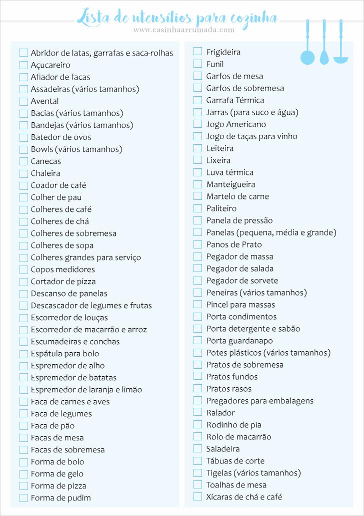 LISTA DE UTENSÍLIOS PARA COZINHA CHÁ DE COZINHA