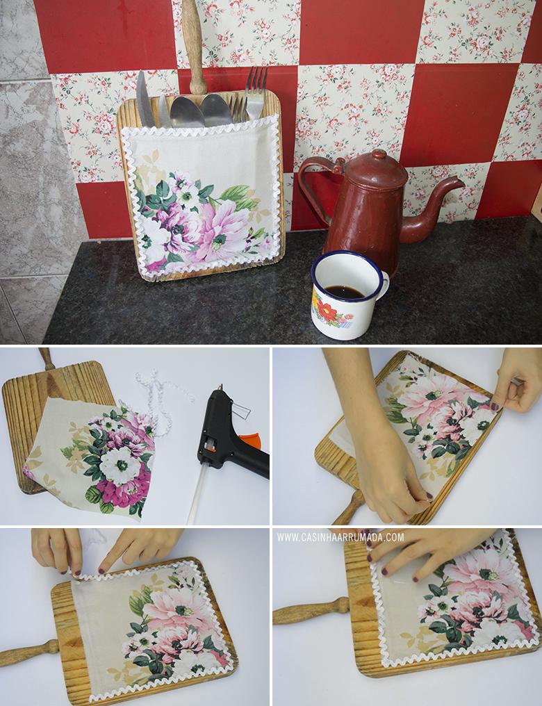 Organizador para cozinha feito com tábua de corte velha