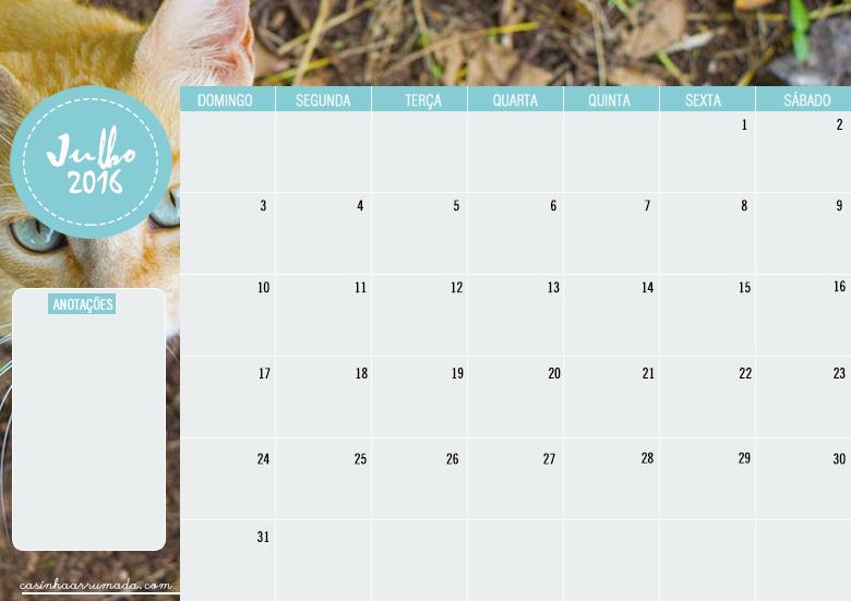 Calendário Planner Julho 2016 para download 1