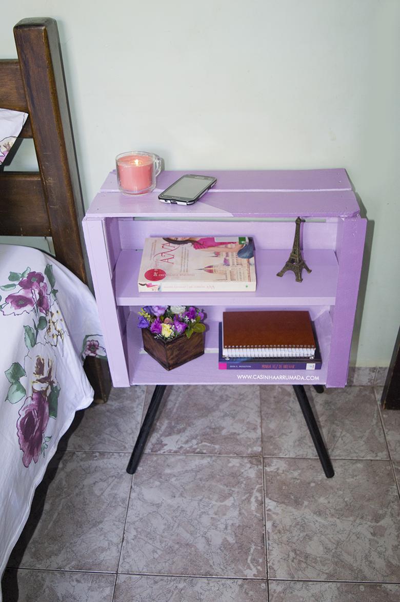 DIY Mesinha feita com caixote de feira e cabo de vassoura 3