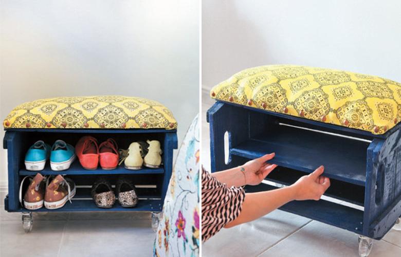 DIY com caixote de feira 4 Sapateira banco de caixote de feira