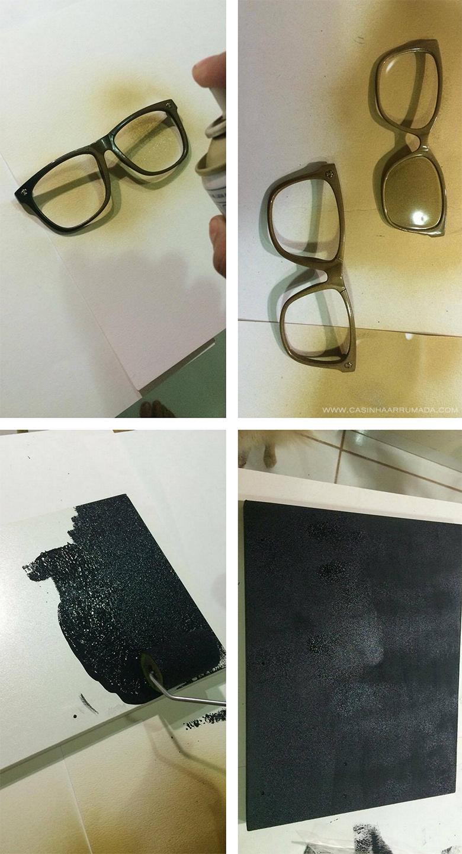 DIY Quadrinho personalizado com armações de óculos antigos 3