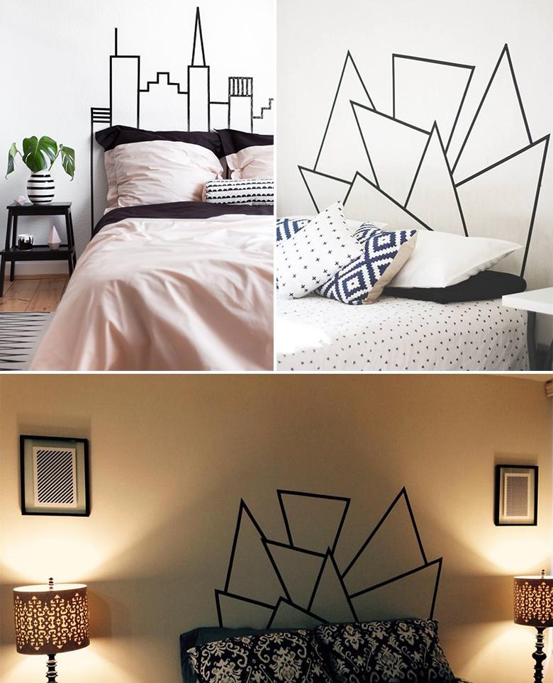 Cabeceiras para cama que você mesma pode fazer usando fita isolante