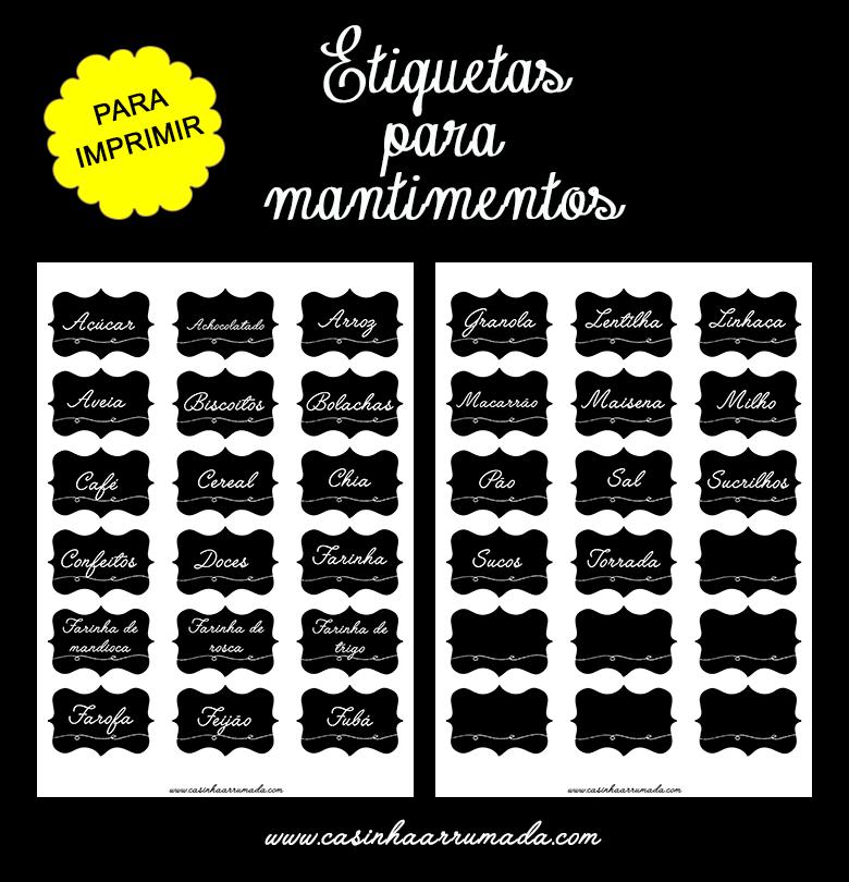 Etiquetas para mantimentos para imprimir