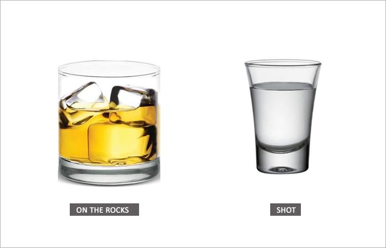 Tipos de taças e copos Onde Rocks e Shot