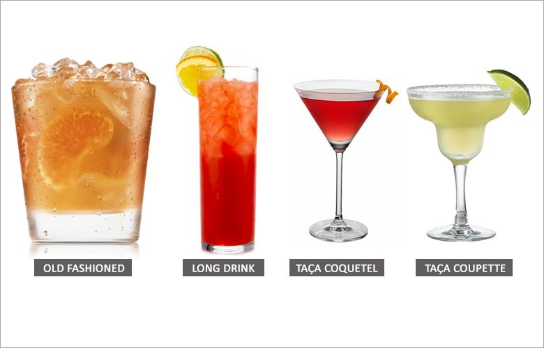 Tipos de taças e copos para servir drinks e coquetéis