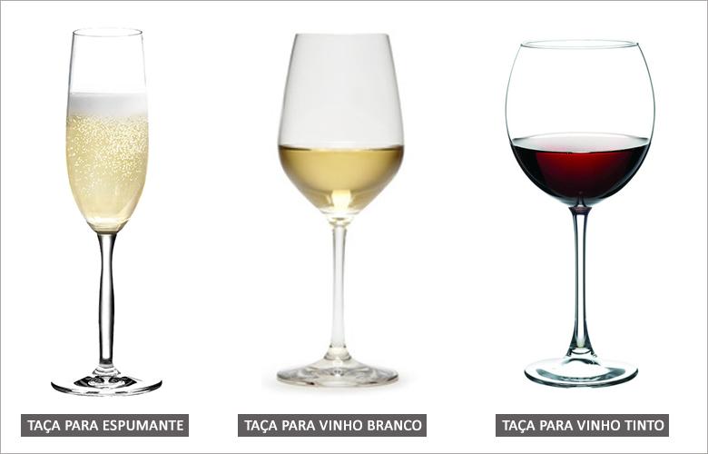 Tipos de taças para espumante, vinho branco e vinho tinto