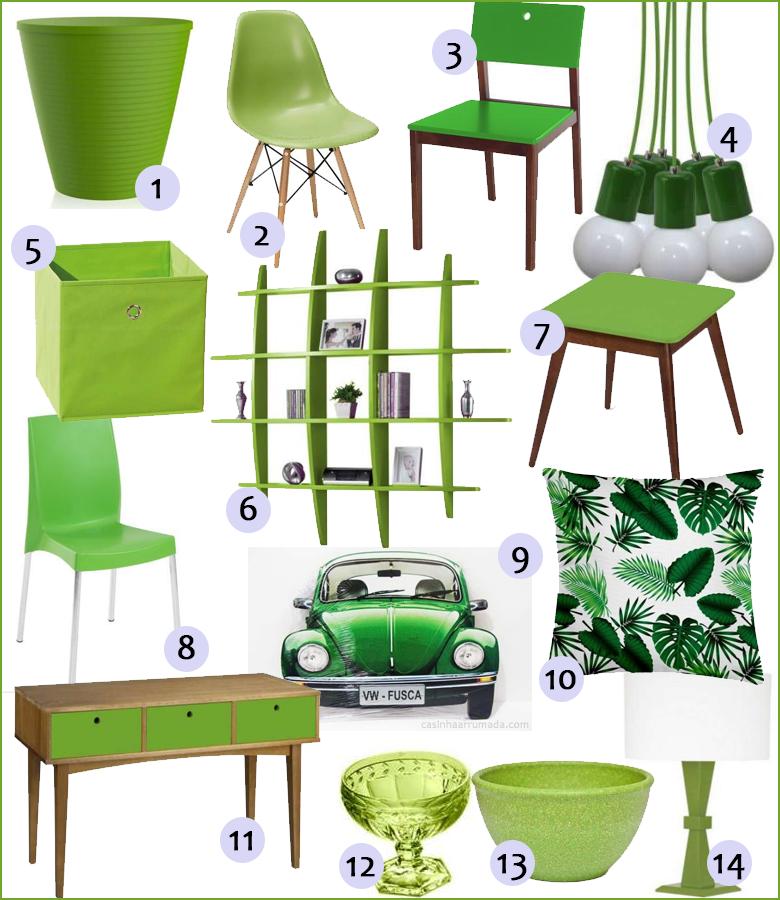 móveis e decoração com a cor de 2017 verde greenery