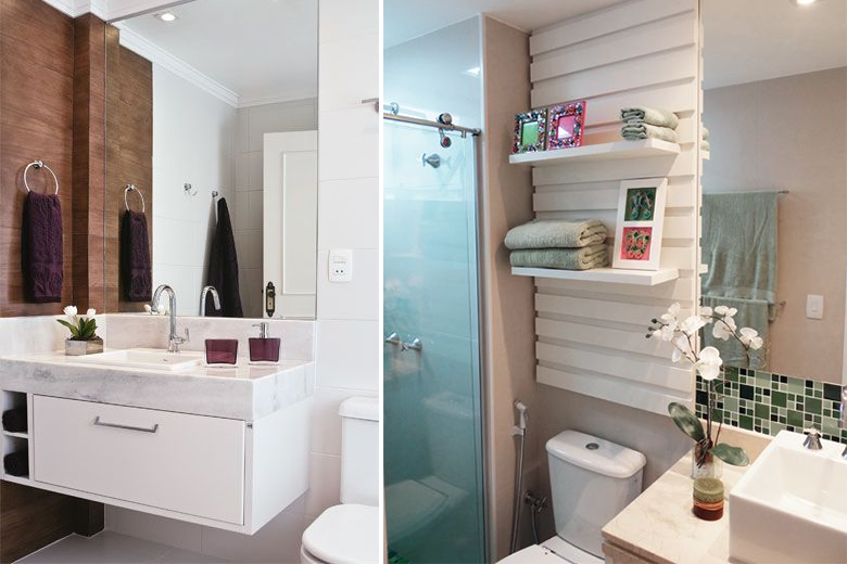 8 truques fantásticos para decorar e organizar banheiros pequenos  Casinha A -> Banheiro Pequeno E Clean
