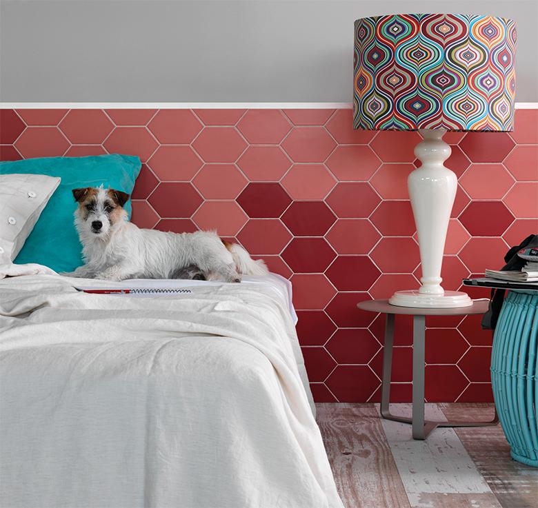 Revestimento Hexagonal no quarto