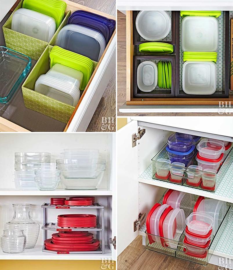 Como organizar potes plásticos nos armários