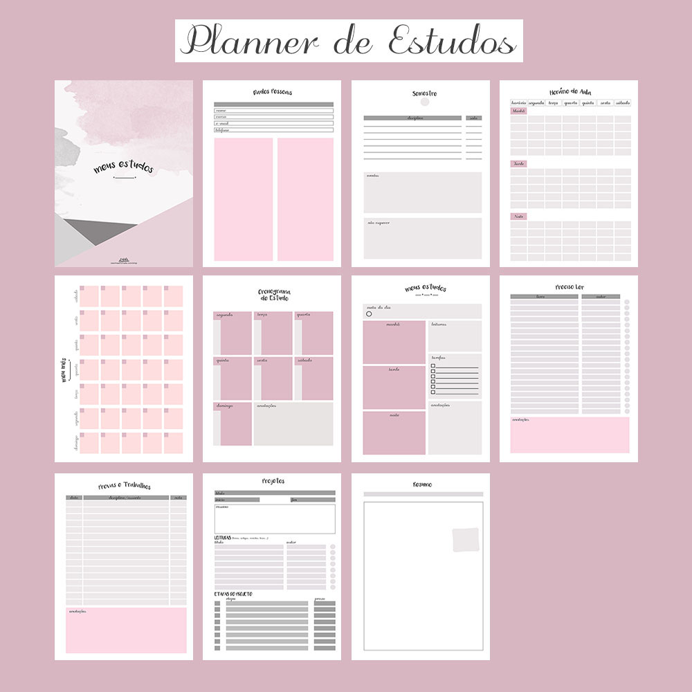 planner de estudos para download