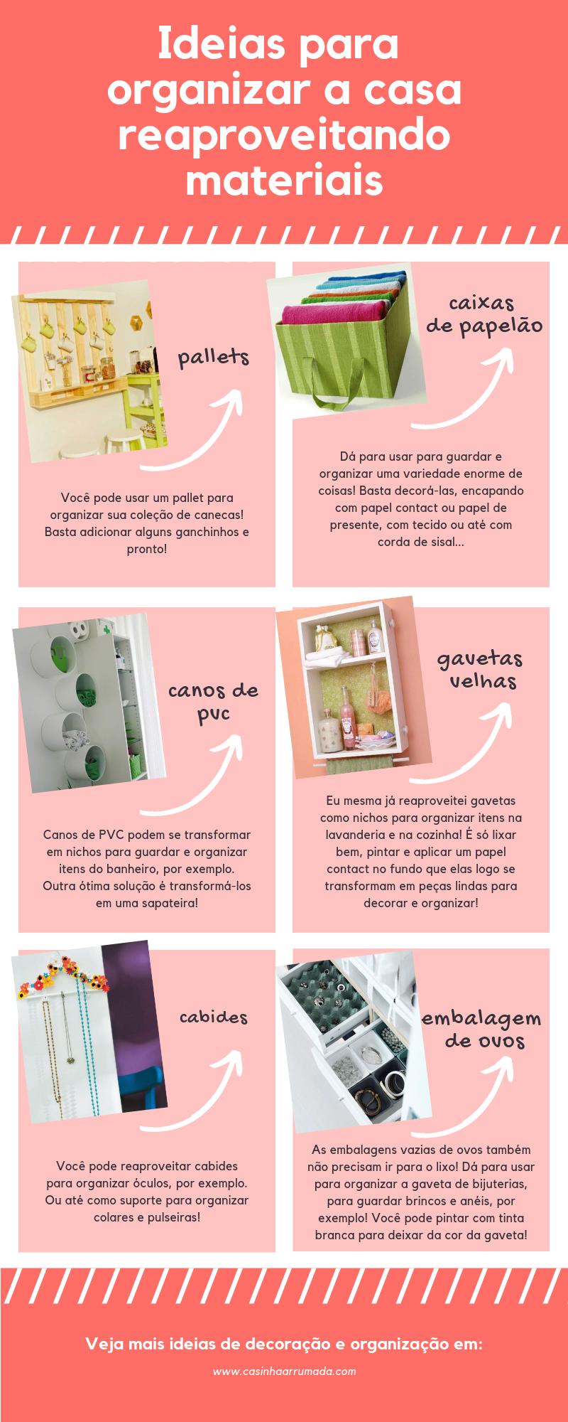 ideias para organizar a casa reaproveitando materiais
