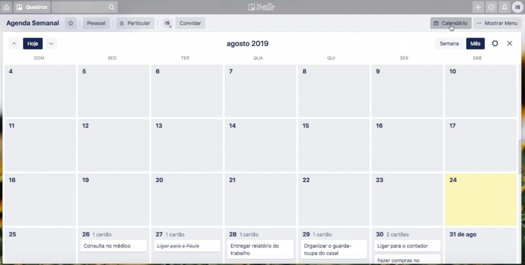 Calendário Trello