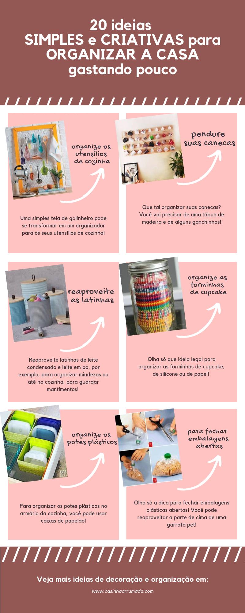20 ideias simples e criativas para organizar a casa gastando pouco